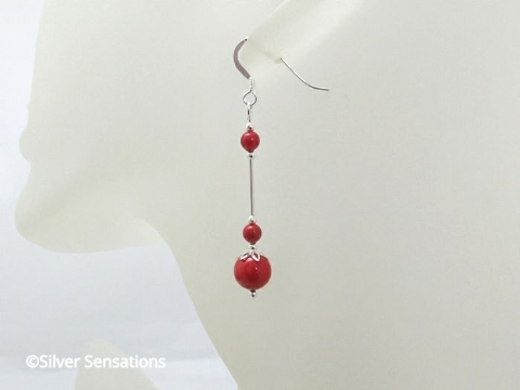 Coral Red Pearl Sterling Silver Earrings With Swarovski Pearls